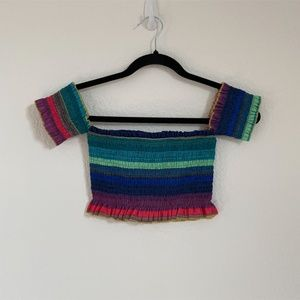 Rainbow Off the Shoulder Crop Top Cute Size XS & S